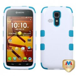 Kyocera Hydro Life / Hydro Icon Ivory White/Tropical Teal Hybrid Case