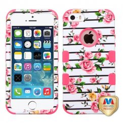 Apple iPhone 5/5s Pink Fresh Roses/Electric Pink Hybrid Case