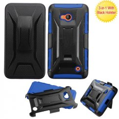 Nokia Lumia 640 Black/Dark Blue Advanced Armor Stand Case with Black Holster