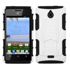 Huawei Valiant / Ascend Plus White/Black Car Armor Stand Case - Rubberized