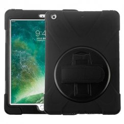 AppleiPad iPad 9.7 2017 Black/Black Rotatable Stand Case with Wristband