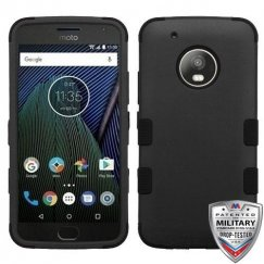 Motorola Moto G5 Plus Rubberized Black/Black Hybrid Case Military Grade