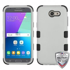 Samsung Galaxy J3 Rubberized Gray/Black Hybrid Case Military Grade