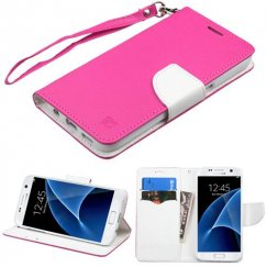 Samsung Galaxy S7 Hot Pink Pattern/White Liner wallet with Lanyard