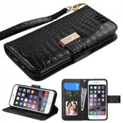 Apple iPhone 6 Plus Black Crocodile-Embossed Wallet