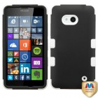 Nokia Lumia 640 Rubberized Black/Solid White Hybrid Case