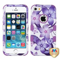 Apple iPhone 5s Purple Hibiscus Flower Romance/Electric Purple Hybrid Case