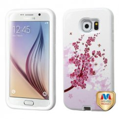 Samsung Galaxy S6 Spring Flowers/Solid White Hybrid Case