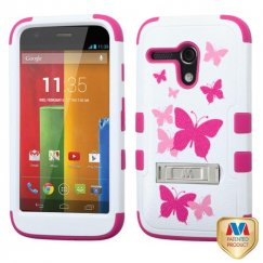 Motorola Moto G Butterfly Dancing/Hot Pink Hybrid Phone Case (with Stand)