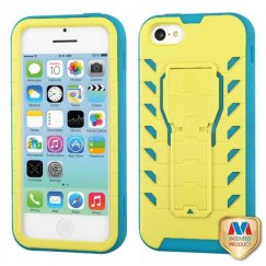 Apple iPhone 5c Natural Baby Yellow/Tropical Teal Treadz Hybrid Case