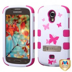 Samsung Galaxy Light Butterfly Dancing/Hot Pink Hybrid Case with Stand