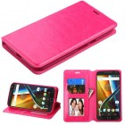 Motorola Moto G4 / Moto G4 Plus Hot Pink Wallet(with Tray)