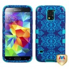 Samsung Galaxy S5 Purple/Blue Damask/Tropical Teal Hybrid Phone Protector Cover