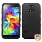 Samsung Galaxy S5 Rubberized Black/Black Hybrid Phone Protector Cover
