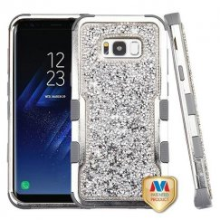 Samsung Galaxy S8 Plus Silver Plating Frame Mini Crystals Back/Iron Gray Vivid Hybrid Case