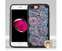 Apple iPhone 7 Plus Purple European Flowers/Black FreeStyle Challenger Hybrid Protector Cover