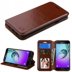 Samsung Galaxy A3 Brown Wallet with Tray
