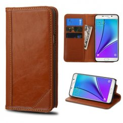 Samsung Galaxy Note 5 Brown Genuine Leather Wallet