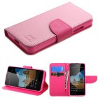 Nokia Lumia 550 Pink Pattern/Hot Pink Liner Wallet with Card Slot