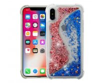 Apple iPhone X Transparent S-shaped Rose Gold/Blue Quicksand Glitter Hybrid Protector Cover