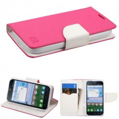 ZTE Citrine LTE Hot Pink Pattern/White Liner wallet with Card Slot