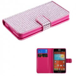 LG Optimus F7 Pink Diamonds Book-Style Wallet with Card Slot