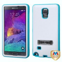Samsung Galaxy Note 4 Natural Cream White/Tropical Teal Hybrid Case with Stand
