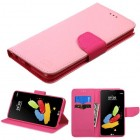 LG G Stylus 2 Pink Pattern/Hot Pink Liner Wallet (with card slot)