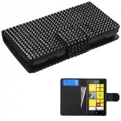 Nokia Lumia 520 Black Diamonds Book-Style Wallet with Card Slot