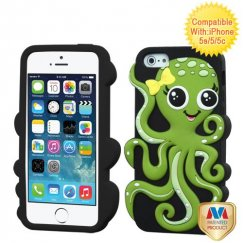 Apple iPhone 5/5s Green/Black Octopus Pastel Skin Cover