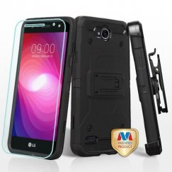 LG X Power 2 Black/Black 3-in-1 Kinetic Hybrid Case Combo with Black Holster and Tempered Glass Screen Protector