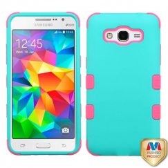 Samsung Galaxy Grand Prime Rubberized Teal Green/Electric Pink Hybrid Case