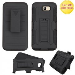 Samsung Galaxy J5 Prime Black/Black Advanced Armor Stand Case Combo with Black Holster