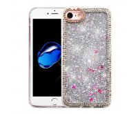 Apple iPhone 7 Silver Quicksand (Stars) Glitter Hybrid Protector Cover (with Diamonds)