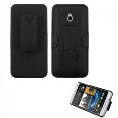 HTC One mini Rubberized Black Hybrid Holster with Stand