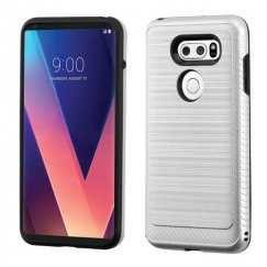 LG V30 Silver/Black Brushed Hybrid Case with Carbon Fiber Accent
