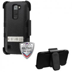 LG K7 Natural Black/Black Hybrid Case with Stand and Black Horizontal Holster