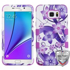 Samsung Galaxy Note 5 Purple Hibiscus Flower Romance/Electric Purple Hybrid Case