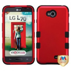 LG Optimus L70 Titanium Red/Black Hybrid Case