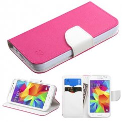 Samsung Galaxy Core Prime Hot Pink Pattern/White Liner wallet with Card Slot