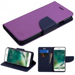 Apple iPhone 8 Purple Pattern/Dark Blue Liner wallet with Card Slot
