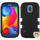 Samsung Galaxy S5 Sport Rubberized Black/Solid White Hybrid Case