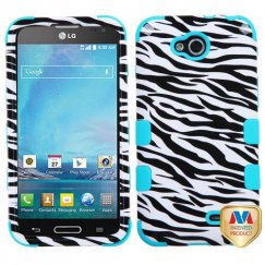 LG Optimus L90 Zebra Skin/Tropical Teal Hybrid Case