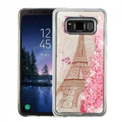 Samsung Galaxy S8 Active Eiffel Tower & Pink Hearts Quicksand Glitter Hybrid Case