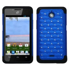 Huawei Valiant / Ascend Plus Dark Blue/Black Luxurious Lattice Dazzling TotalDefense Case
