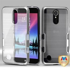 LG K10 Metallic Silver/Transparent Clear Brushed Panoview Hybrid Case