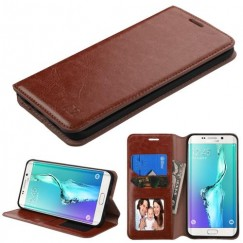 Samsung Galaxy S6 Edge Plus Brown Wallet with Tray