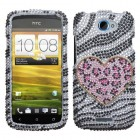 HTC One S Playful Leopard Diamante Case