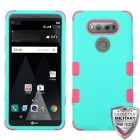 LG V20 Rubberized Teal Green/Electric Pink Hybrid Case
