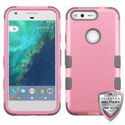 Google Pixel Rubberized Pearl Pink/Iron Gray Hybrid Case - Military Grade